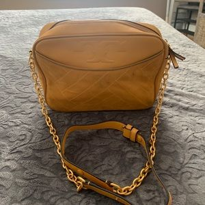 Yellow Tory Burch crossbody purse